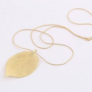 Jewelry - Gold 3d Real Leaf Charm Pendant Necklace